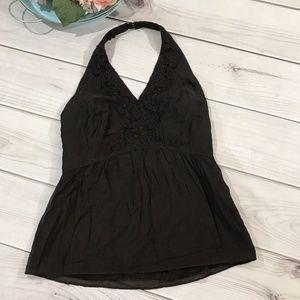 Ann Taylor 8 Beaded Halter Top Silk Cotton Lined